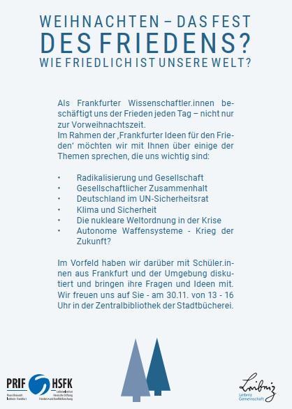 """Veranstaltung """"Frankfurter Ideen für den Frieden"""" am 30.11.2019-HOLA-Schüler aus Hanau bringen sich ein"""